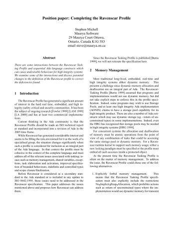 Position paper: Completing the Ravenscar Profile - SIGAda