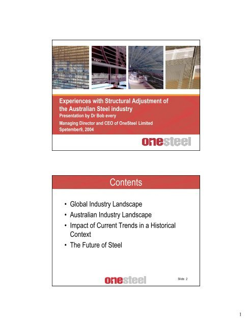 Experiences with Structural Adjustment of the Austrlaian ... - Arrium