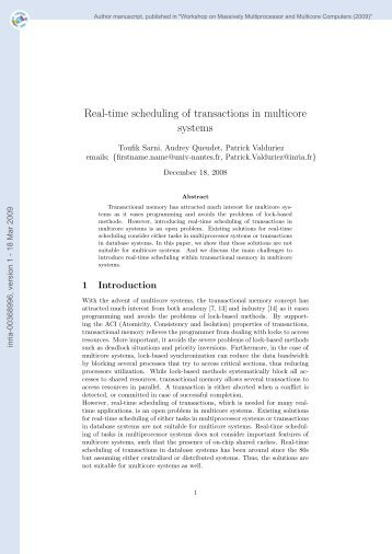 Real-time scheduling of transactions in multicore systems