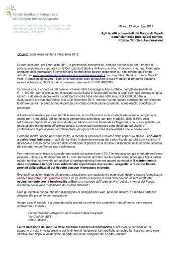 Prestazioni 2012 e relative variazioni anagrafiche - Fondo Sanitario ...