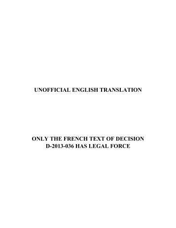unofficial english translation only the french text of decision d-2013 ...