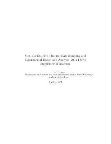 Stat-403/Stat-650 : Intermediate Sampling and Experimental Design ...