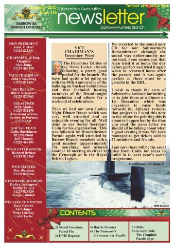 December 10 - Barrow Submariners Association