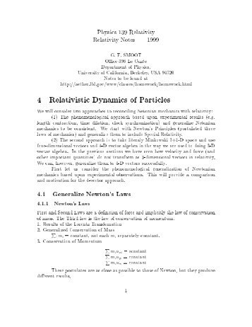 4 Relativistic Dynamics of Particles - Smoot Group Cosmology
