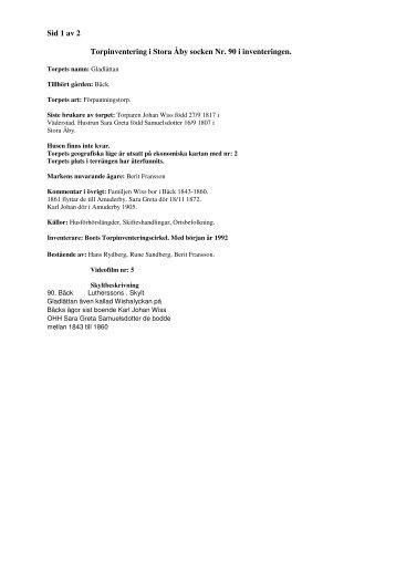 Sid 1 av 2 Torpinventering i Stora Åby socken Nr. 90 i inventeringen.