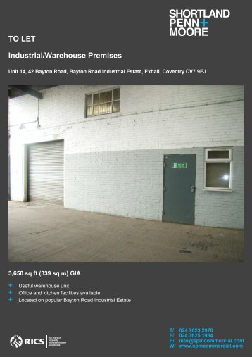 TO LET Industrial/Warehouse Premises