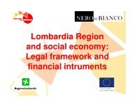 Lombardia Region and social economy: Legal framework and ...