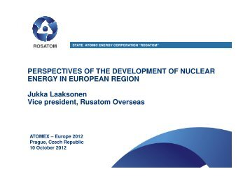 Perspectives of the development of nuclear energy in european region