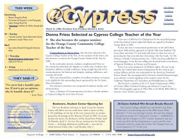 March 31, 2008 - News... - Cypress College