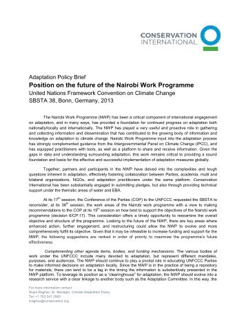 Conservation International (CI) - United Nations Framework ...
