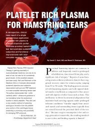 Platelet Rich Plasma for Hamstring Tears - Prolotherapy
