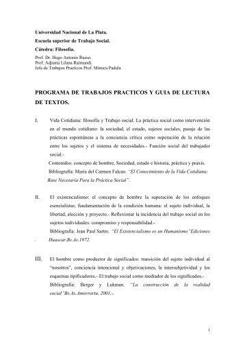 Programa de Trabajos Prácticos Filosofía - Facultad de Trabajo Social