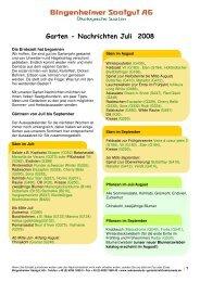 Garten - Nachrichten Juli 2008 - Bingenheimer Saatgut AG