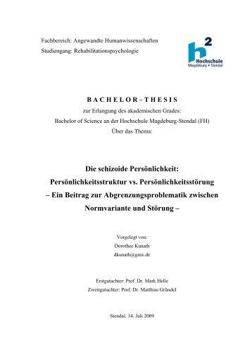 Die schizoide Persönlichkeit: Persönlichkeitsstruktur vs ...