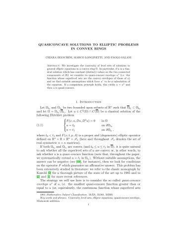 QUASICONCAVE SOLUTIONS TO ELLIPTIC PROBLEMS IN ...