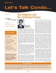 Due Diligence and the Tendering Process
