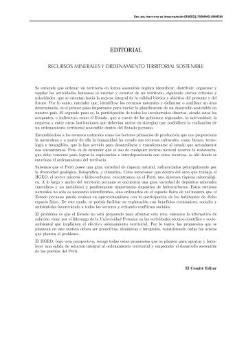 5 editorial recursos minerales y ordenamiento ... - Revista Peruana