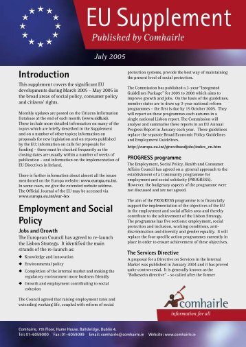 EU Supplement July 2005 (pdf) - Citizens Information Board