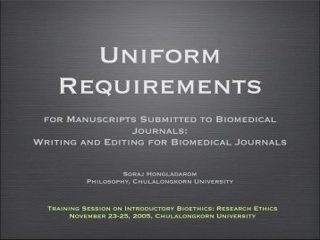 Universal Requirements for Publishing in Biomedical Journals and ...