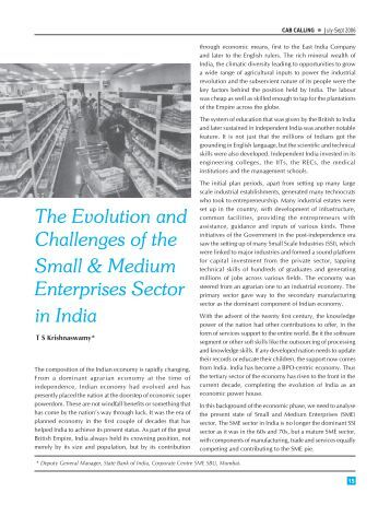 Evolution and Challenges of SMEs in India - CAB