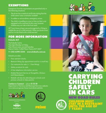 Carrying Children Safely In Cars - Brochure - Rego ACT