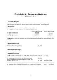 Kostenliste Betreutes Wohnen ab 01.01.2014 - Johanneshaus