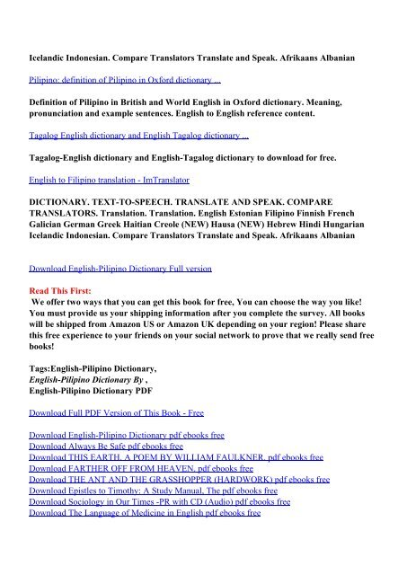 Tagalog english dictionary translation sentence