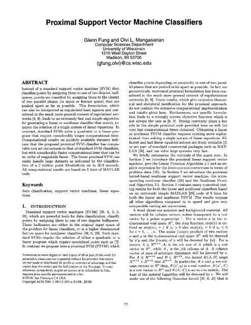 Proximal Support Vector Machine Classifiers