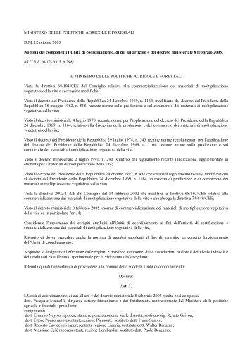 MINISTERO DELLE POLITICHE AGRICOLE E FORESTALI ... - Ismea