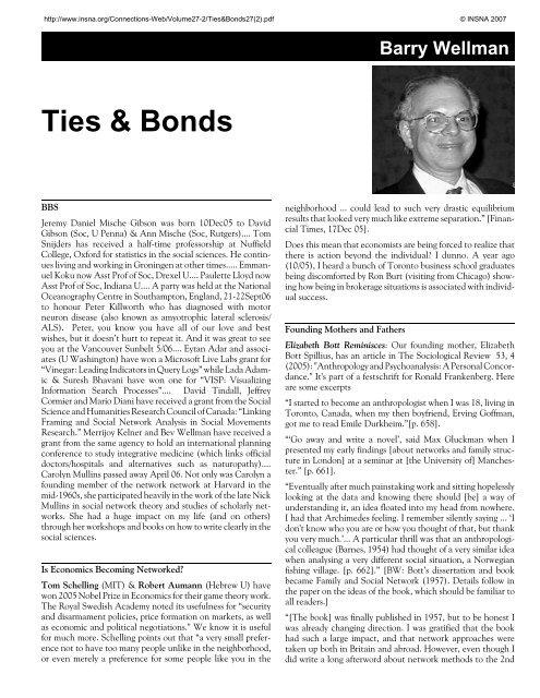 Ties & Bonds  Connections, 27 (2) - INSNA