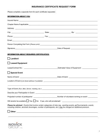 Certificate Of Insurance Form Certificate Of Insurance Request   Insurance  Request Form