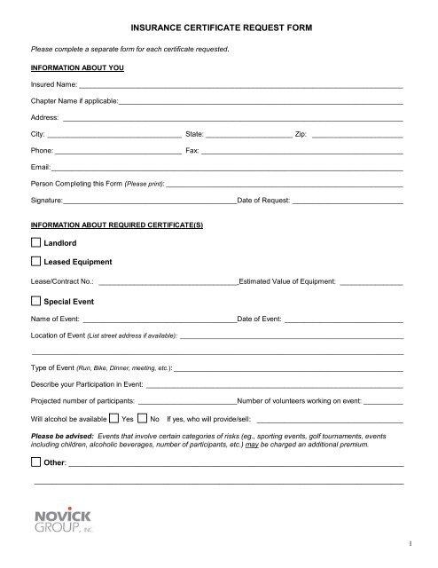 INSURANCE CERTIFICATE REQUEST FORM - Novick Group, Inc.