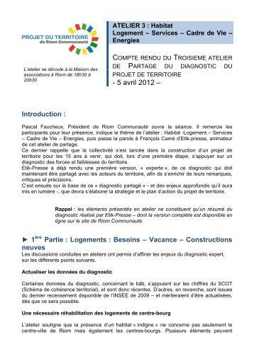 Habitat Logement – Services – Cadre de Vie – Energies - Riom ...