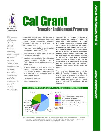 Transfer Entitlement Cal Grant Program - CSAC California Student ...