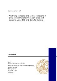Analysing temporal and spatial variations in DOC concentrations in ...