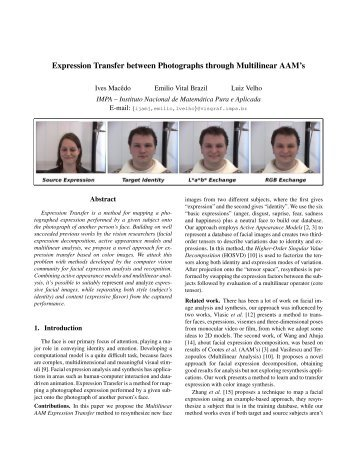 Expression Transfer between Photographs through ... - CiteSeerX