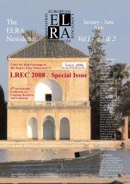 Vol.13 Nº1&2, LREC 2008 Special Issue - ELRA