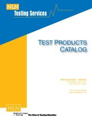Test Products Catalog - National League for Nursing