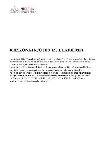 Mikkelin maakunta-arkiston kirkonkirjojen mikrofilmirullat