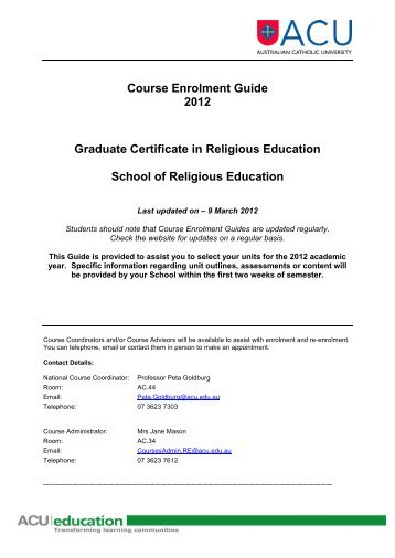 Course Enrolment Guide – Graduate Certificate in ... - Students