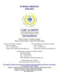 school profile 2010-2011 - Cary Academy