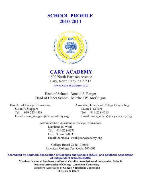school profile 2010-2011 - Cary Academy