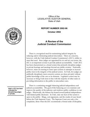 A Review of the Judicial Conduct Commission - Utah State Legislature
