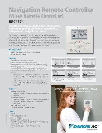 Navigation Controller (BRC1E71) - Daikin AC