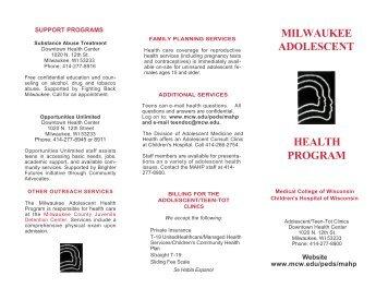 milwaukee adolescent health program - Medical College of Wisconsin
