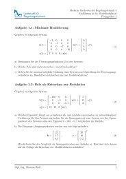 Aufgabe 1.1: Minimale Realisierung Aufgabe 1.2: Pole als Kriterium ...