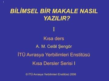 Bilimsel Bir Makale Nasıl Yazılır - İstanbul Üniversitesi