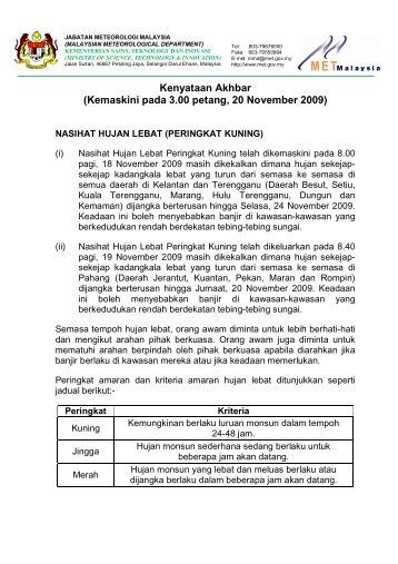 Kenyataan Akhbar (Kemaskini pada 3.00 petang, 20 November 2009)