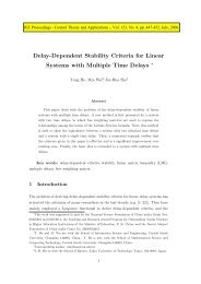 Delay-Dependent Stability Criteria for Linear Systems with Multiple ...