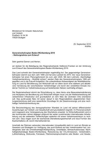 Stellungnahme zum Entwurf - Regionalverband Heilbronn-Franken